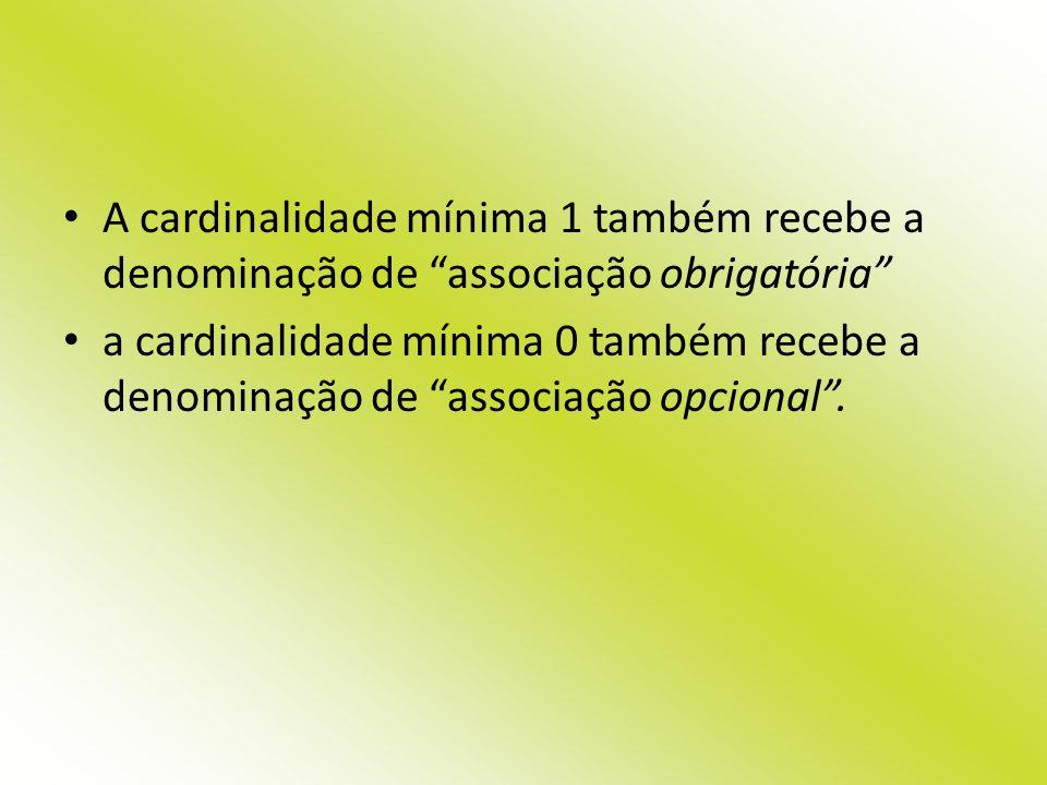 A cardinalidade mínima 1 também recebe a denominação de associação obrigatória a cardinalidade mínima 0 também recebe a denominação de associação opci