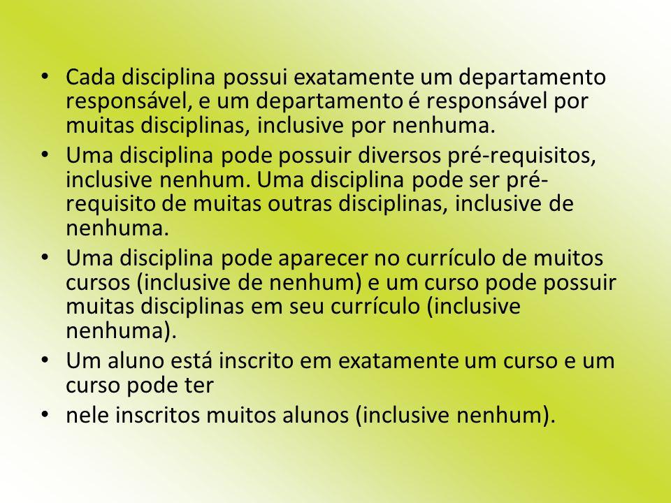 Cada disciplina possui exatamente um departamento responsável, e um departamento é responsável por muitas disciplinas, inclusive por nenhuma. Uma disc