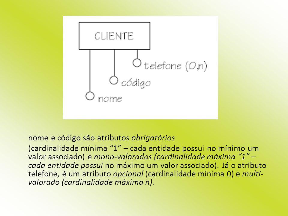 nome e código são atributos obrigatórios (cardinalidade mínima 1 – cada entidade possui no mínimo um valor associado) e mono-valorados (cardinalidade