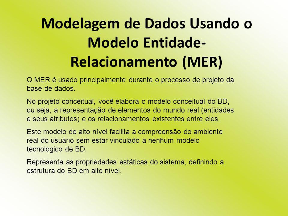 Modelagem de Dados Usando o Modelo Entidade- Relacionamento (MER) O MER é usado principalmente durante o processo de projeto da base de dados. No proj