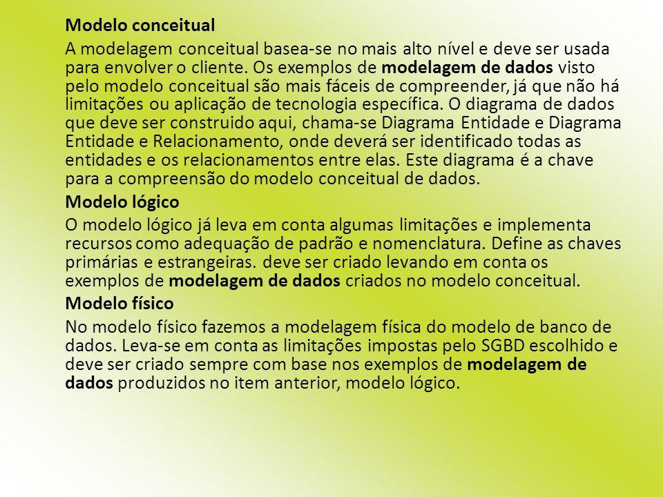 Modelo conceitual A modelagem conceitual basea-se no mais alto nível e deve ser usada para envolver o cliente. Os exemplos de modelagem de dados visto