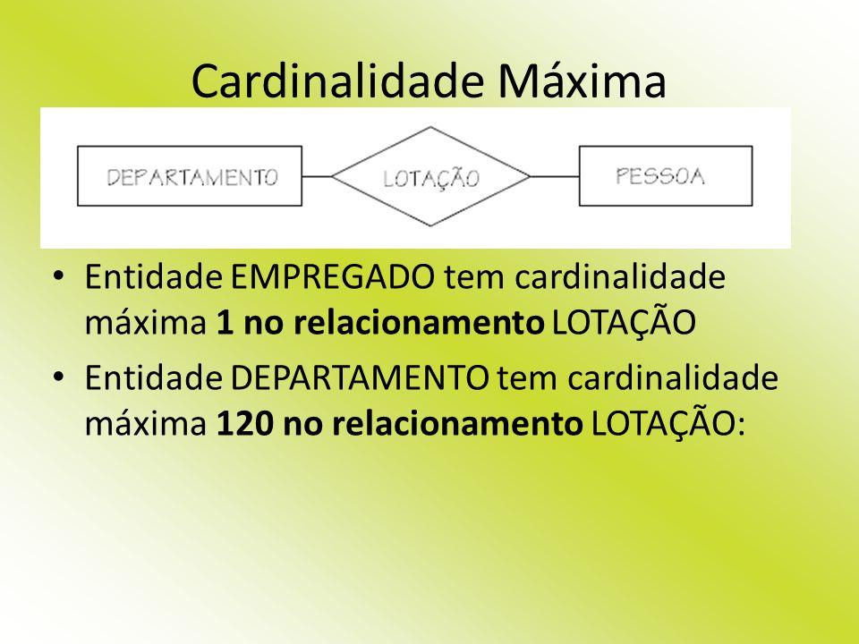Cardinalidade Máxima Entidade EMPREGADO tem cardinalidade máxima 1 no relacionamento LOTAÇÃO Entidade DEPARTAMENTO tem cardinalidade máxima 120 no rel