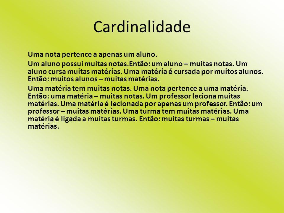 Cardinalidade Uma nota pertence a apenas um aluno. Um aluno possui muitas notas.Então: um aluno – muitas notas. Um aluno cursa muitas matérias. Uma ma