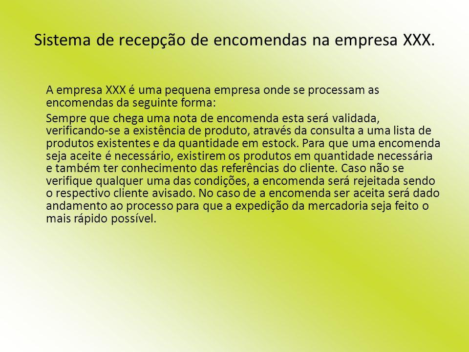 Sistema de recepção de encomendas na empresa XXX. A empresa XXX é uma pequena empresa onde se processam as encomendas da seguinte forma: Sempre que ch