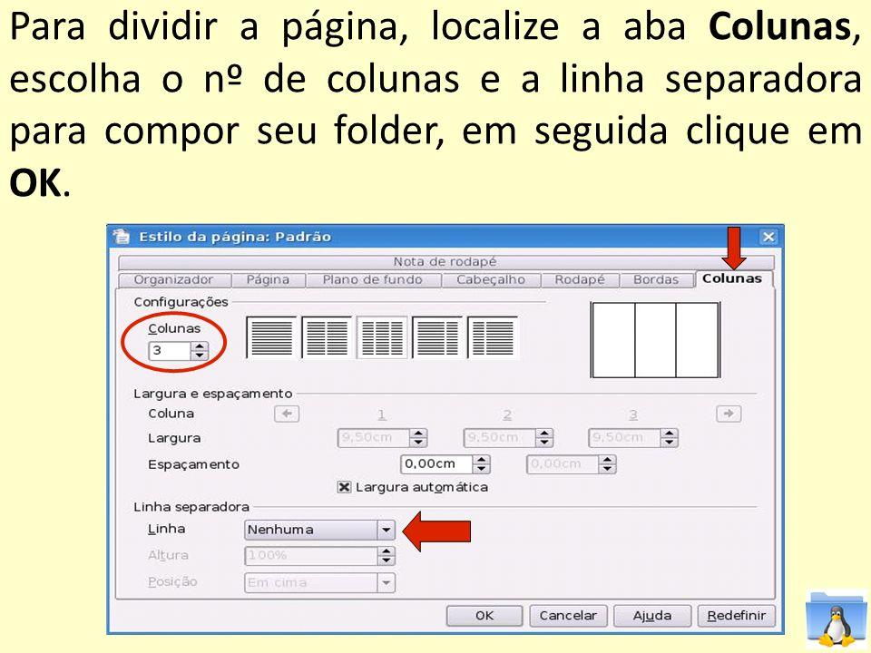 Para dividir a página, localize a aba Colunas, escolha o nº de colunas e a linha separadora para compor seu folder, em seguida clique em OK.