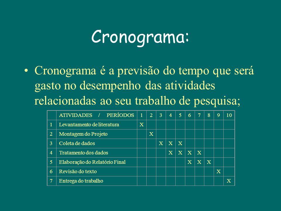 Cronograma: Cronograma é a previsão do tempo que será gasto no desempenho das atividades relacionadas ao seu trabalho de pesquisa; ATIVIDADES / PERÍODOS12345678910 1Levantamento de literaturaX 2Montagem do ProjetoX 3Coleta de dadosXXX 4Tratamento dos dadosXXXX 5Elaboração do Relatório FinalXXX 6Revisão do textoX 7Entrega do trabalhoX