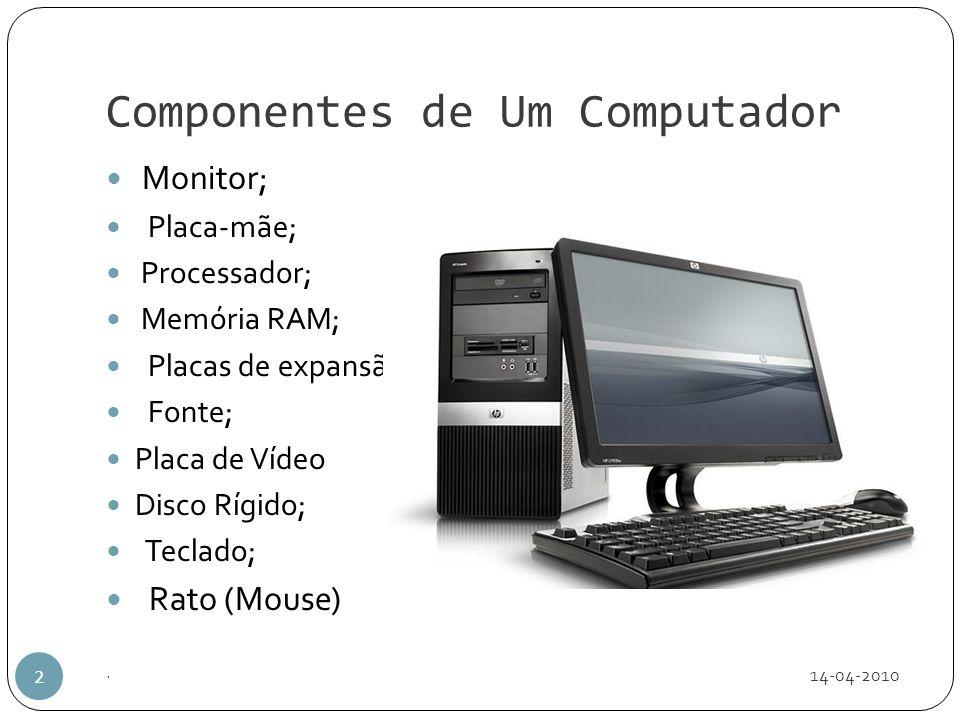 Componentes de Um Computador 14-04-2010. 2 Monitor; Placa-mãe; Processador; Memória RAM; Placas de expansão; Fonte; Placa de Vídeo Disco Rígido; Tecla