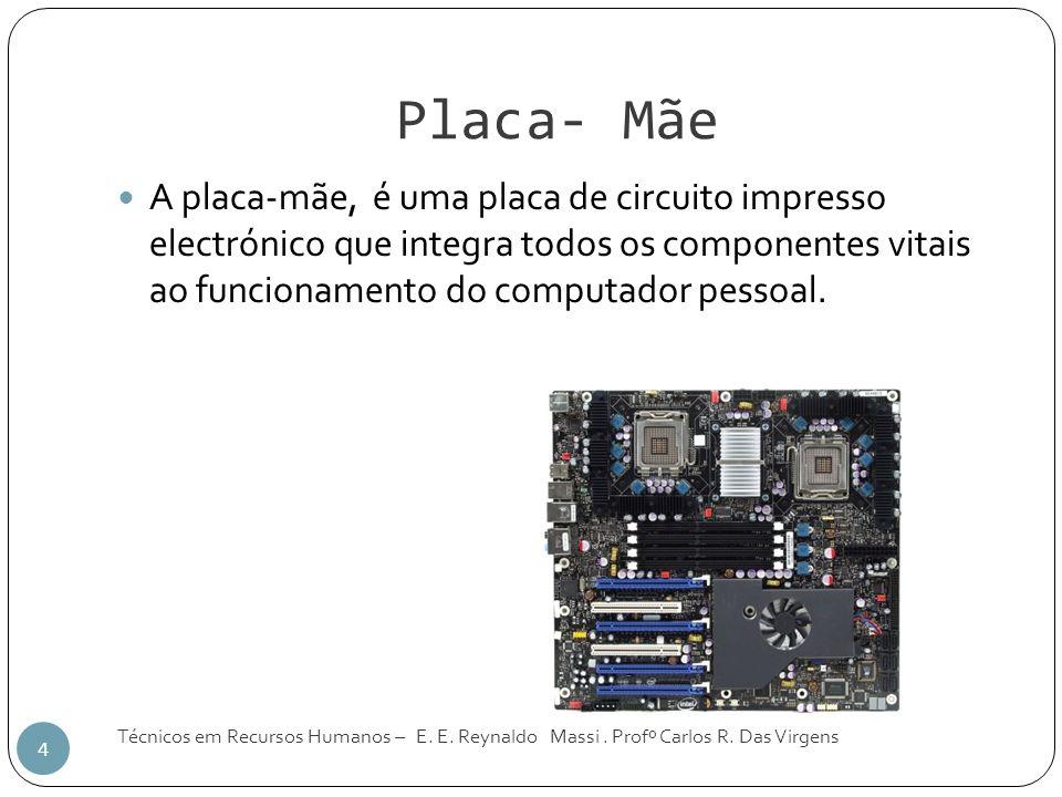 Placa- Mãe Técnicos em Recursos Humanos – E. E. Reynaldo Massi. Profº Carlos R. Das Virgens 4 A placa-mãe, é uma placa de circuito impresso electrónic