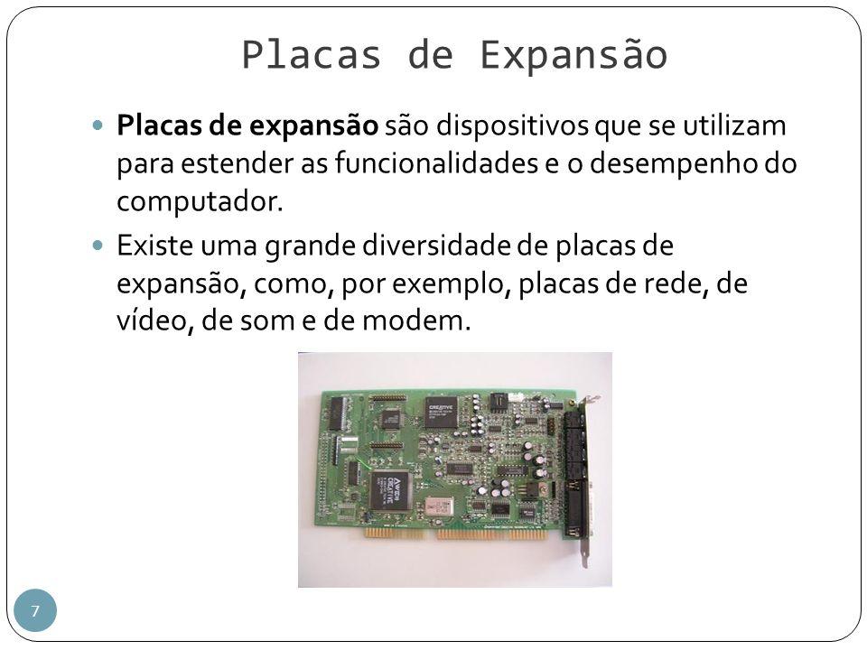 Placas de Expansão 7 Placas de expansão são dispositivos que se utilizam para estender as funcionalidades e o desempenho do computador. Existe uma gra
