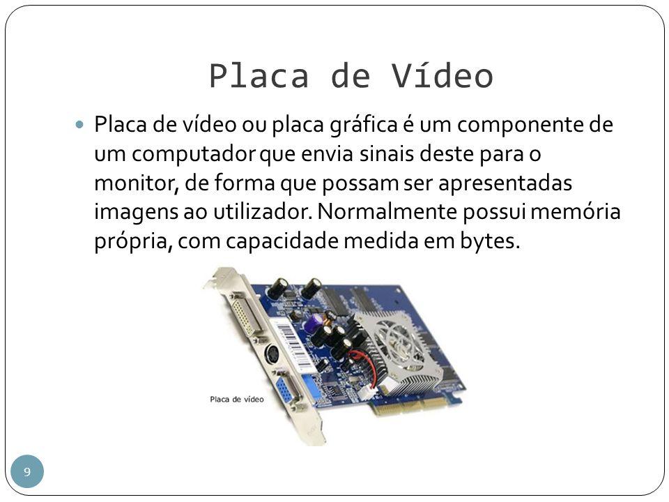 Placa de Vídeo 9 Placa de vídeo ou placa gráfica é um componente de um computador que envia sinais deste para o monitor, de forma que possam ser apres
