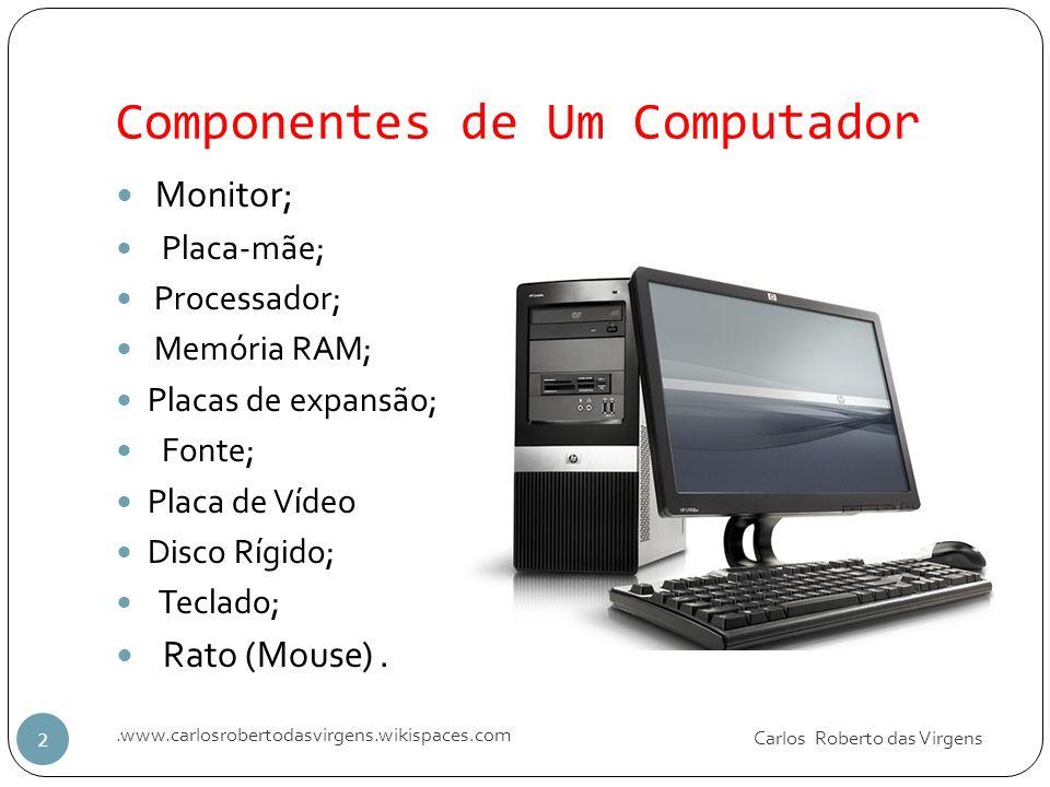 Componentes de Um Computador Carlos Roberto das Virgens.www.carlosrobertodasvirgens.wikispaces.com 2 Monitor; Placa-mãe; Processador; Memória RAM; Pla