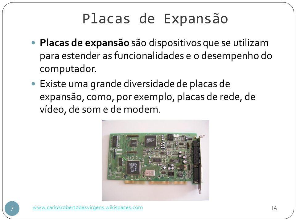 Placas de Expansão IA www.carlosrobertodasvirgens.wikispaces.com 7 Placas de expansão são dispositivos que se utilizam para estender as funcionalidade