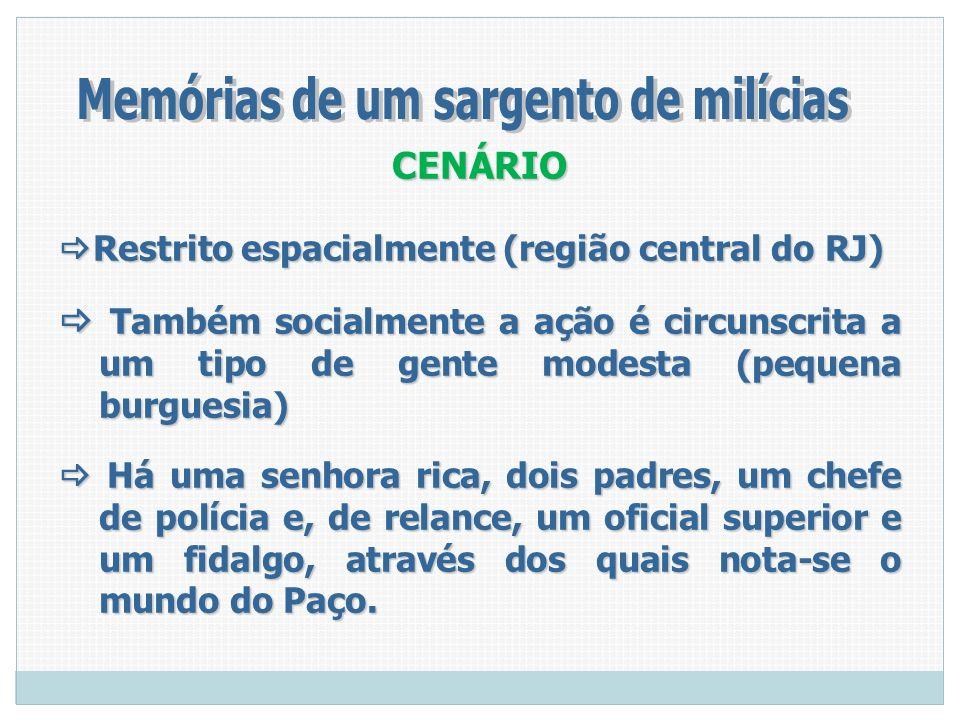 CENÁRIO Restrito espacialmente (região central do RJ) Restrito espacialmente (região central do RJ) Também socialmente a ação é circunscrita a um tipo