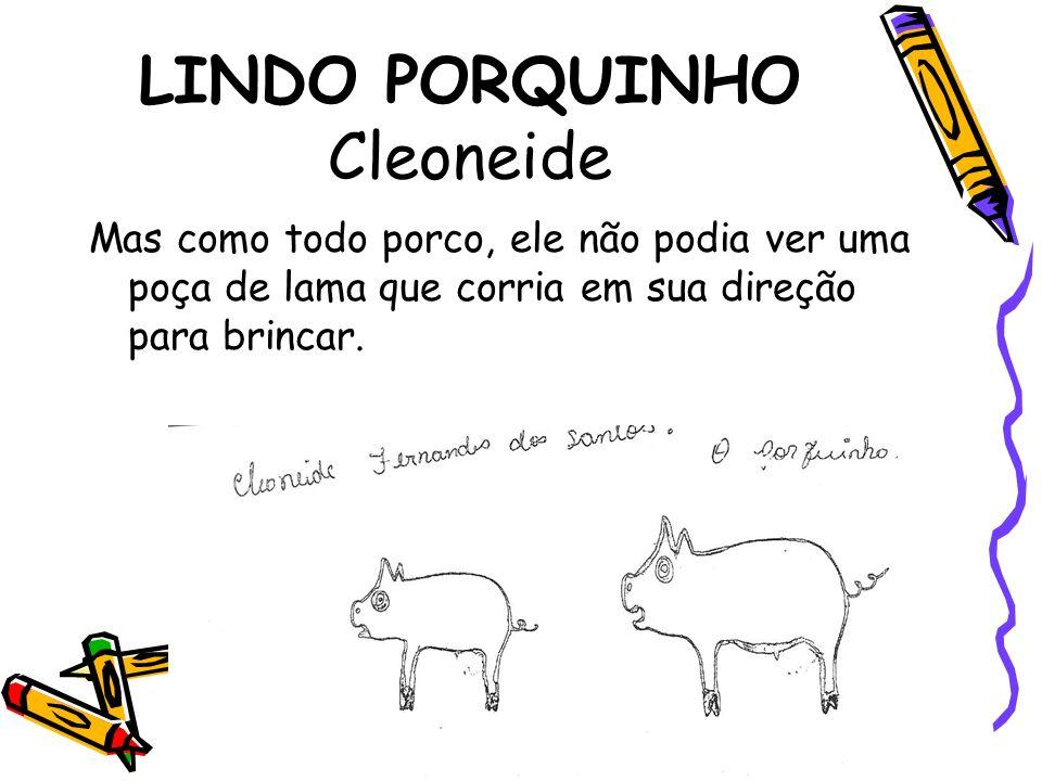 LINDO PORQUINHO Cleoneide Mas como todo porco, ele não podia ver uma poça de lama que corria em sua direção para brincar.