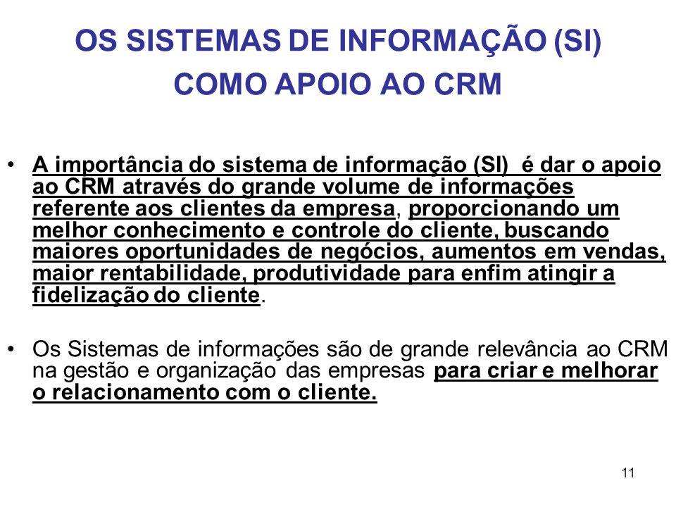11 OS SISTEMAS DE INFORMAÇÃO (SI) COMO APOIO AO CRM A importância do sistema de informação (SI) é dar o apoio ao CRM através do grande volume de infor