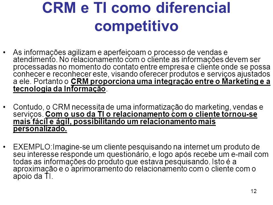 12 CRM e TI como diferencial competitivo As informações agilizam e aperfeiçoam o processo de vendas e atendimento. No relacionamento com o cliente as
