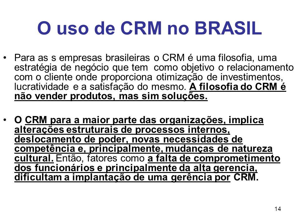 14 O uso de CRM no BRASIL Para as s empresas brasileiras o CRM é uma filosofia, uma estratégia de negócio que tem como objetivo o relacionamento com o