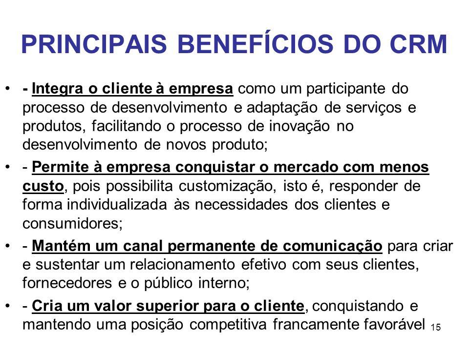 15 PRINCIPAIS BENEFÍCIOS DO CRM - Integra o cliente à empresa como um participante do processo de desenvolvimento e adaptação de serviços e produtos,