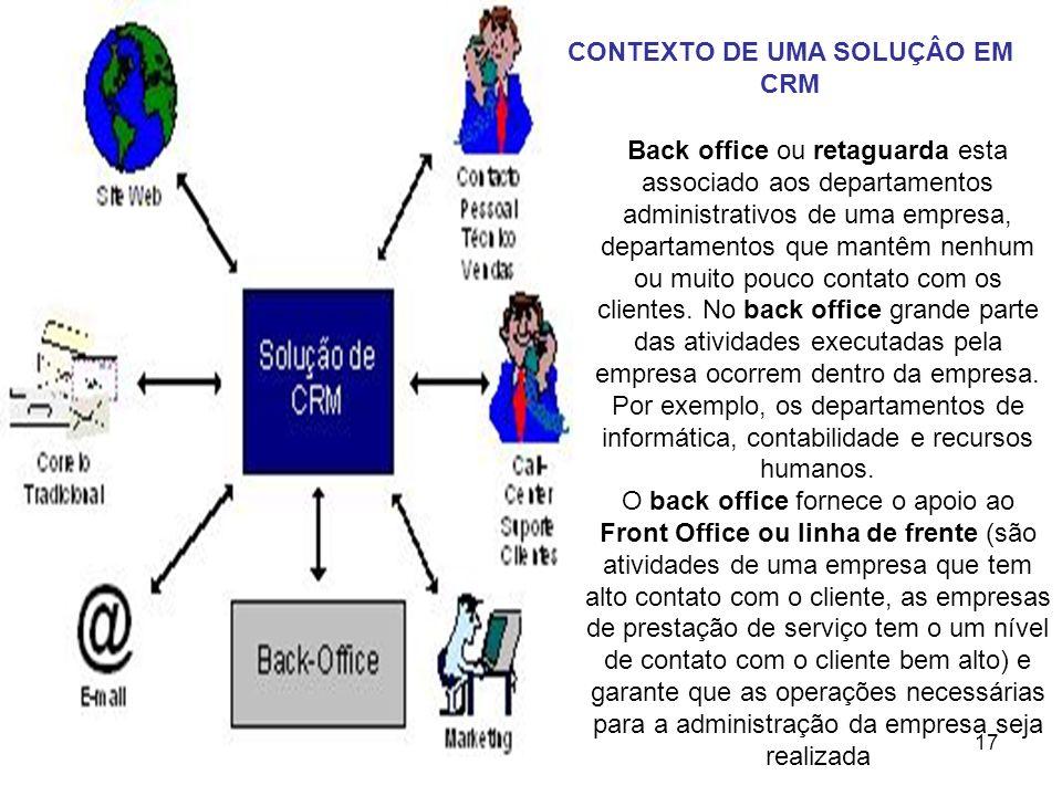 17 Back office ou retaguarda esta associado aos departamentos administrativos de uma empresa, departamentos que mantêm nenhum ou muito pouco contato c