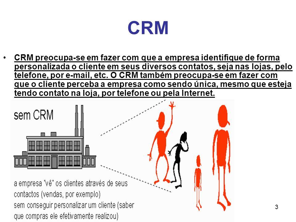 3 CRM CRM preocupa-se em fazer com que a empresa identifique de forma personalizada o cliente em seus diversos contatos, seja nas lojas, pelo telefone