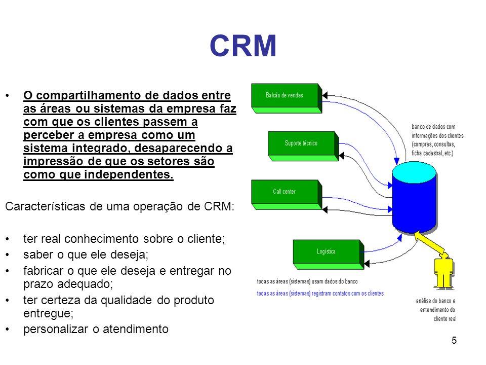 5 CRM O compartilhamento de dados entre as áreas ou sistemas da empresa faz com que os clientes passem a perceber a empresa como um sistema integrado,