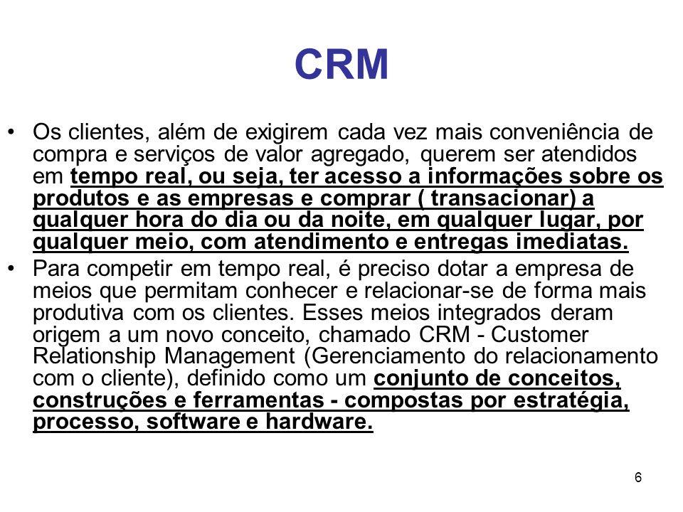 6 CRM Os clientes, além de exigirem cada vez mais conveniência de compra e serviços de valor agregado, querem ser atendidos em tempo real, ou seja, te