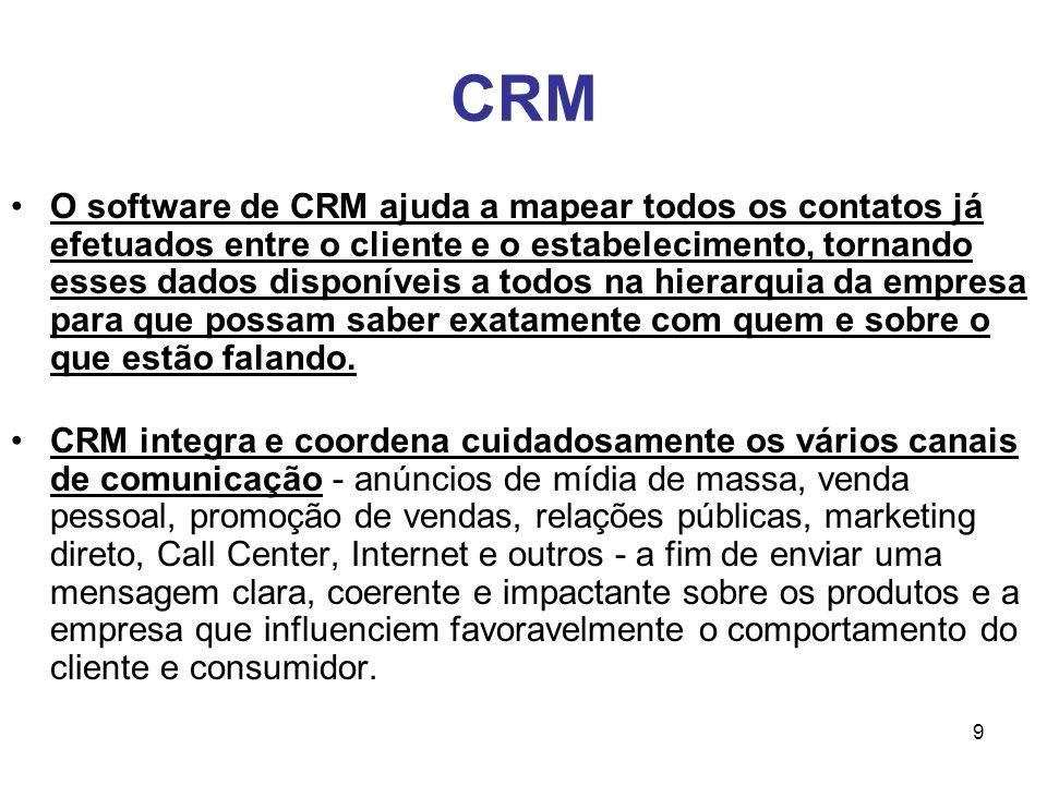 9 CRM O software de CRM ajuda a mapear todos os contatos já efetuados entre o cliente e o estabelecimento, tornando esses dados disponíveis a todos na
