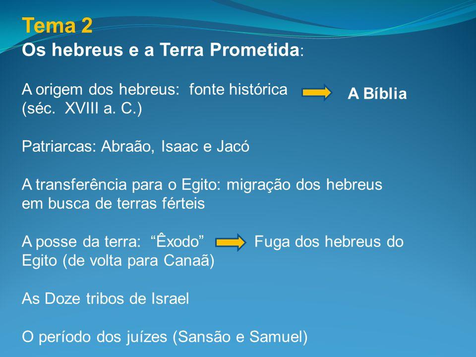 Tema 2 Os hebreus e a Terra Prometida : A origem dos hebreus: fonte histórica (séc. XVIII a. C.) Patriarcas: Abraão, Isaac e Jacó A transferência para