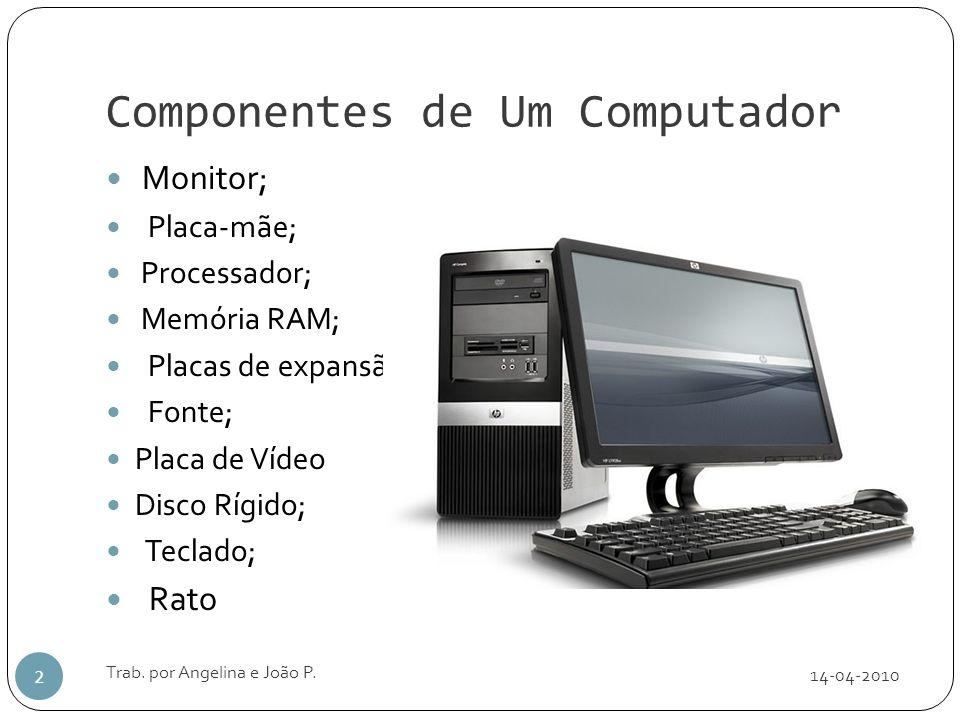 Componentes de Um Computador 14-04-2010 Trab. por Angelina e João P. 2 Monitor; Placa-mãe; Processador; Memória RAM; Placas de expansão; Fonte; Placa