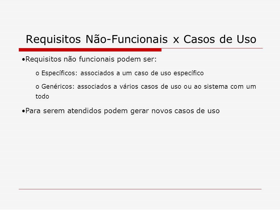 Requisitos Não-Funcionais x Casos de Uso Requisitos não funcionais podem ser: o Específicos: associados a um caso de uso específico o Genéricos: assoc