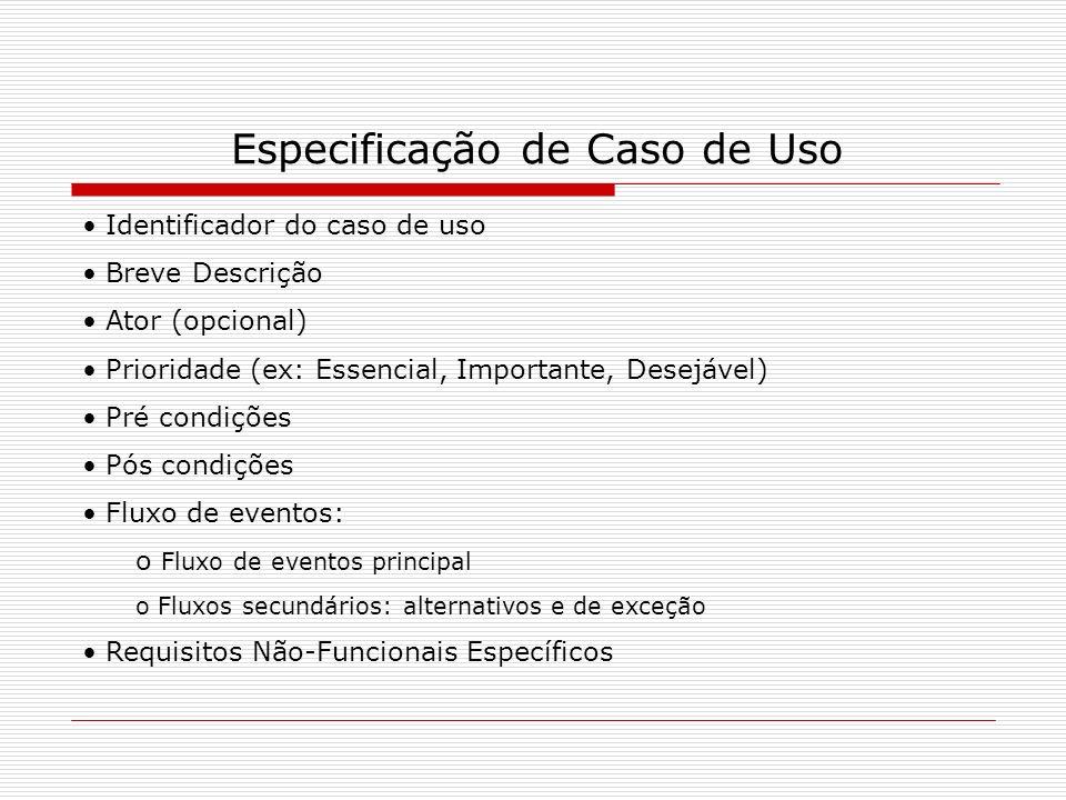 Especificação de Caso de Uso Identificador do caso de uso Breve Descrição Ator (opcional) Prioridade (ex: Essencial, Importante, Desejável) Pré condiç