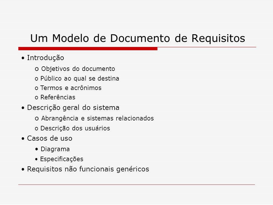 Um Modelo de Documento de Requisitos Introdução o Objetivos do documento o Público ao qual se destina o Termos e acrônimos o Referências Descrição ger