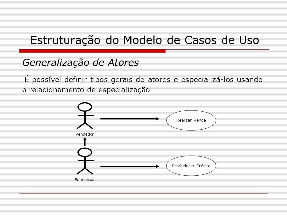 Estruturação do Modelo de Casos de Uso Generalização de Atores É possível definir tipos gerais de atores e especializá-los usando o relacionamento de