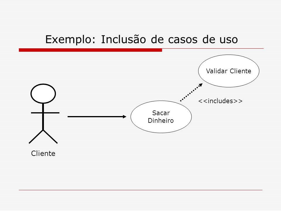 Exemplo: Inclusão de casos de uso Cliente Sacar Dinheiro Validar Cliente >