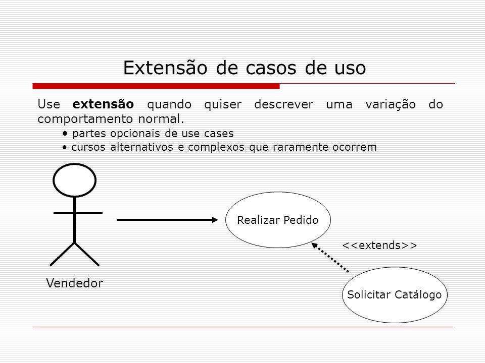 Extensão de casos de uso Vendedor Realizar Pedido Solicitar Catálogo > Use extensão quando quiser descrever uma variação do comportamento normal. part