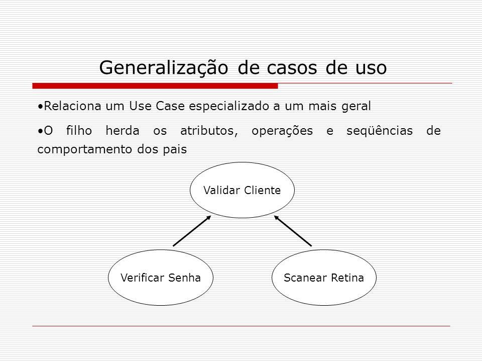 Generalização de casos de uso Relaciona um Use Case especializado a um mais geral O filho herda os atributos, operações e seqüências de comportamento