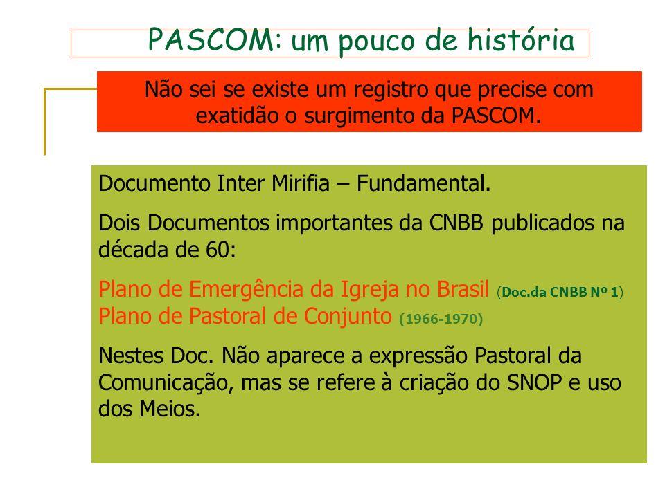 PASCOM: um pouco de história Não sei se existe um registro que precise com exatidão o surgimento da PASCOM. Documento Inter Mirifia – Fundamental. Doi