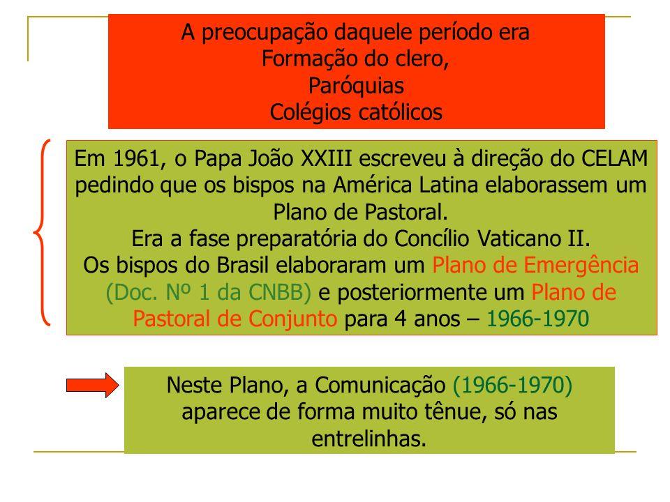 A preocupação daquele período era Formação do clero, Paróquias Colégios católicos Em 1961, o Papa João XXIII escreveu à direção do CELAM pedindo que o