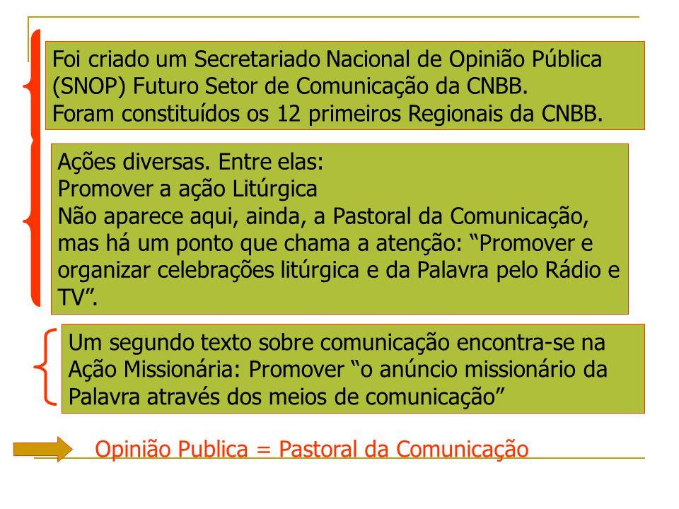Foi criado um Secretariado Nacional de Opinião Pública (SNOP) Futuro Setor de Comunicação da CNBB. Foram constituídos os 12 primeiros Regionais da CNB