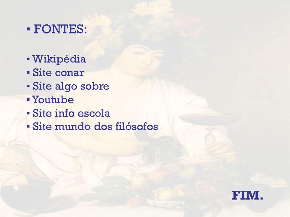 FONTES: Wikipédia Site conar Site algo sobre Youtube Site info escola Site mundo dos filósofos FIM.