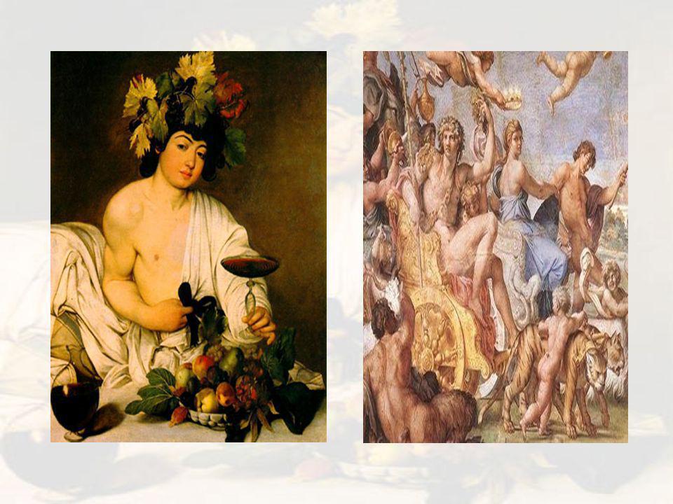 Latim – Baco.Era filho de Zeus e de Sêmele, princesa tebana filha de Cadmo e Harmonia.