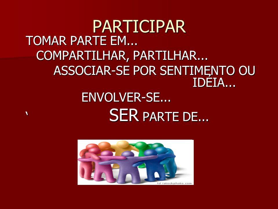 E COMO PARTICIPAR? UMA EXCELENTE ALTERNATIVA DE PARTICIPAÇÃO É O CONSELHO DE ESCOLA!!!