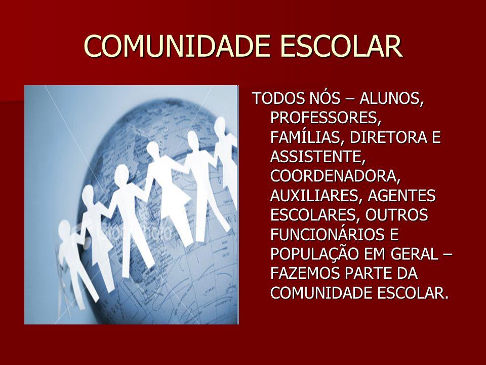 COMUNIDADE ESCOLAR TODOS NÓS – ALUNOS, PROFESSORES, FAMÍLIAS, DIRETORA E ASSISTENTE, COORDENADORA, AUXILIARES, AGENTES ESCOLARES, OUTROS FUNCIONÁRIOS