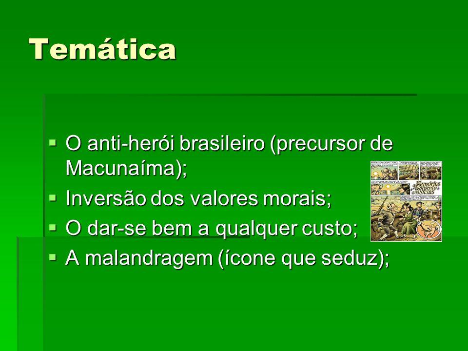 Temática O anti-herói brasileiro (precursor de Macunaíma); O anti-herói brasileiro (precursor de Macunaíma); Inversão dos valores morais; Inversão dos