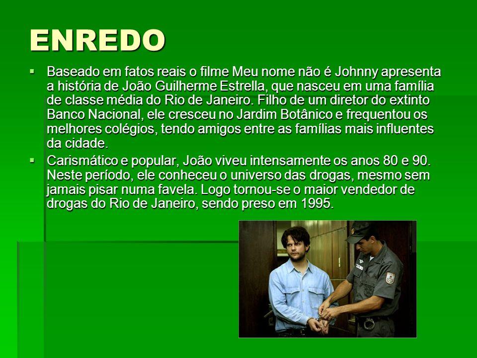 ENREDO Baseado em fatos reais o filme Meu nome não é Johnny apresenta a história de João Guilherme Estrella, que nasceu em uma família de classe média
