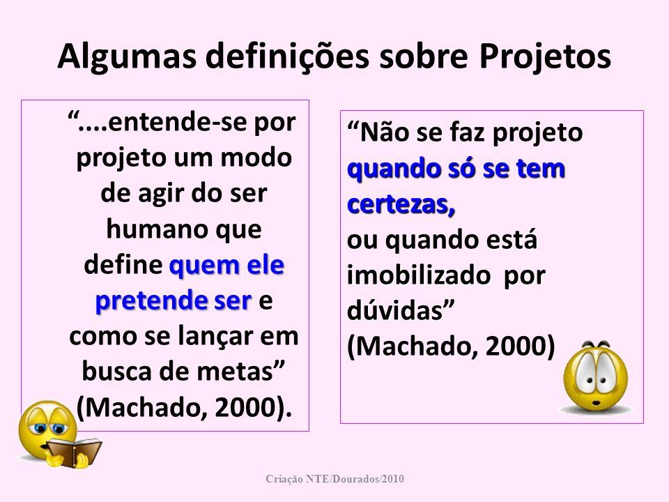 Criação NTE/Dourados/2010 Algumas definições sobre Projetos Não se faz projeto quando só se tem certezas, está imobilizado por dúvidas ou quando está