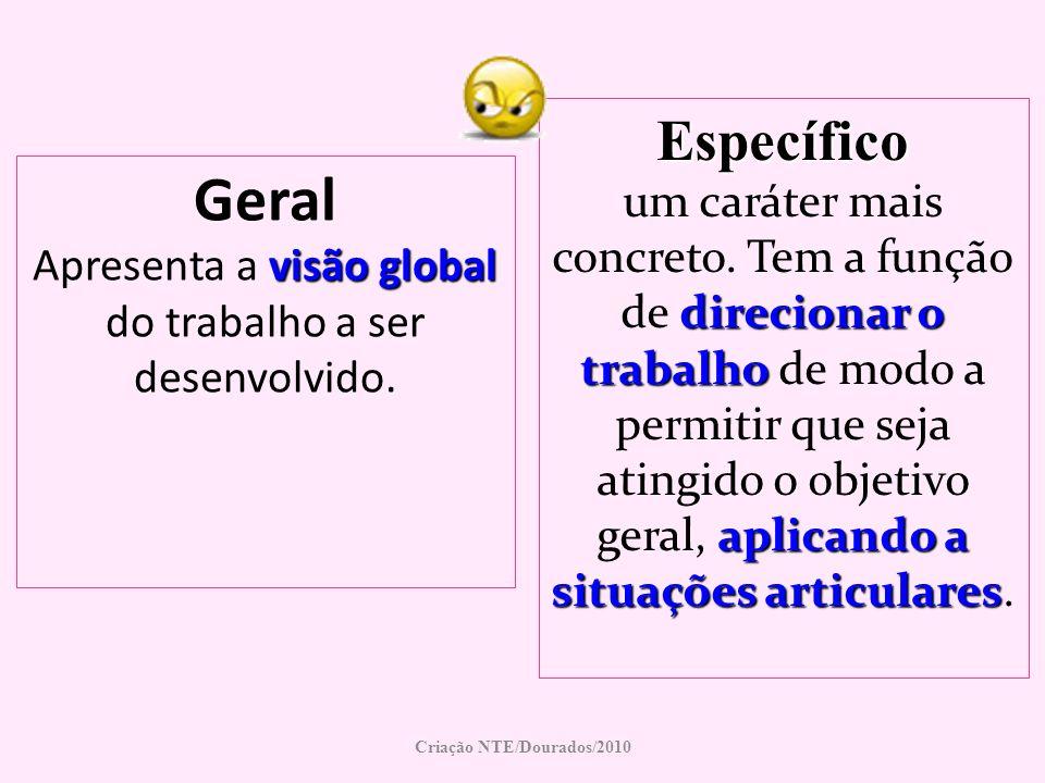 Geral visão global Apresenta a visão global do trabalho a ser desenvolvido. Criação NTE/Dourados/2010 Específico direcionar o trabalho aplicando a sit