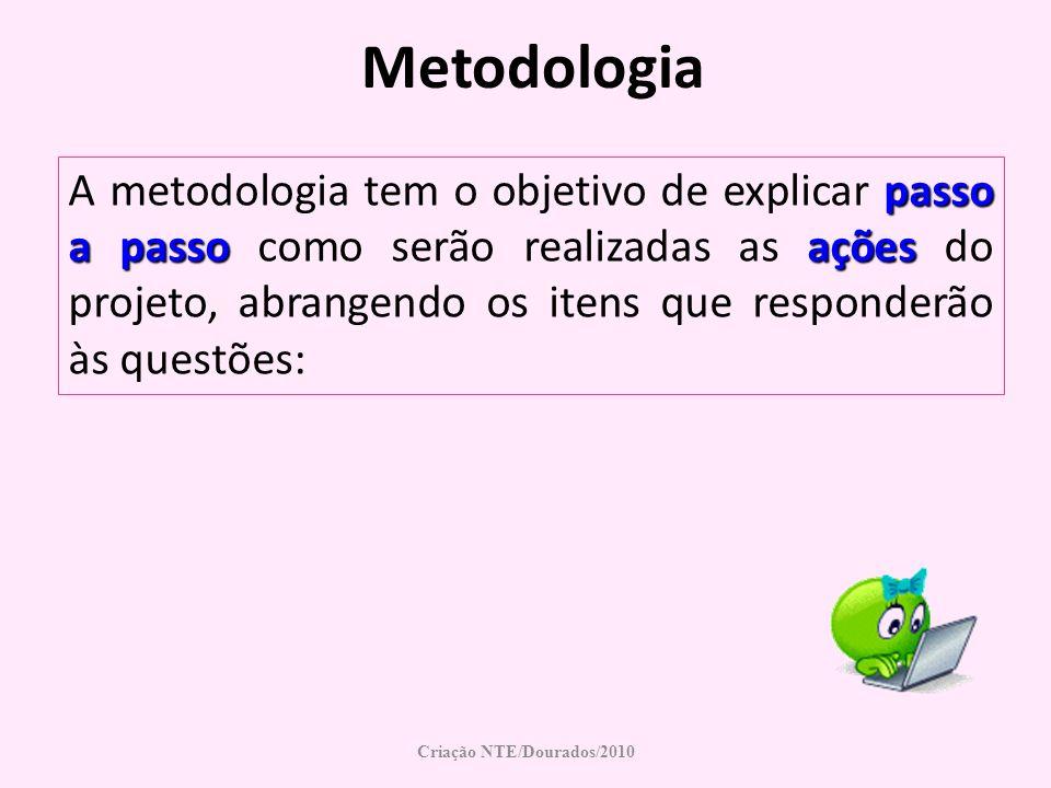 Metodologia passo a passoações A metodologia tem o objetivo de explicar passo a passo como serão realizadas as ações do projeto, abrangendo os itens q