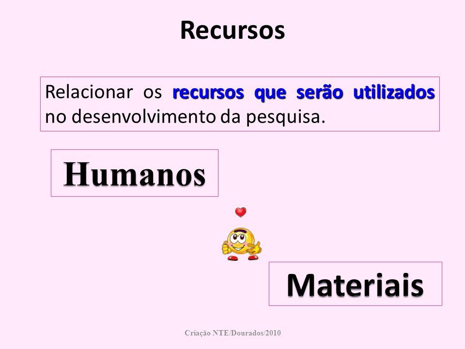 Recursos recursos que serão utilizados Relacionar os recursos que serão utilizados no desenvolvimento da pesquisa. Criação NTE/Dourados/2010 Humanos