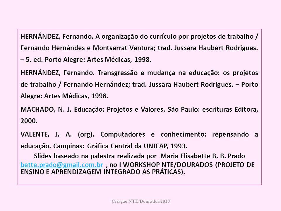 HERNÁNDEZ, Fernando. A organização do currículo por projetos de trabalho / Fernando Hernándes e Montserrat Ventura; trad. Jussara Haubert Rodrigues. –